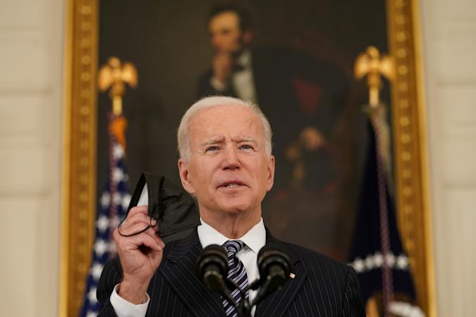U.S. President Joe Biden delivers remarks on the state of the coronavirus disease (COVID-19) vaccinations from the State Dining Room at the White House in Washington, D.C., U.S., April 6, 2021. REUTERS/Kevin Lamarque     TPX IMAGES OF THE DAY