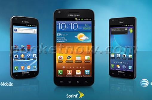 Trio of US Samsung Galaxy S II models get together for a group photo?