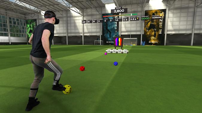 Image of a player in VR playing Rezzil Color Combos.