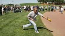 Kevin Costner and Sons Play Catch at 'Field of Dreams' Site