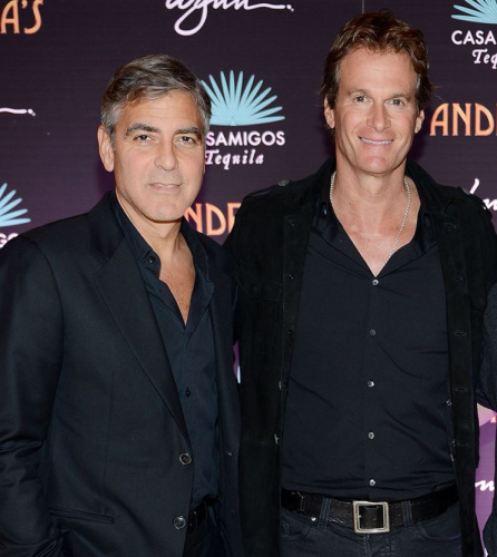 Casamigos Tequila founders George Clooney and Rande Gerber celebrate the launch of Casamigos at Andrea's at Encore Las Vegas on January 9, 2013