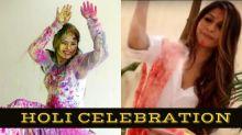 Neetu Chandra And Tanisha Mukherjee Celebrating HOLI