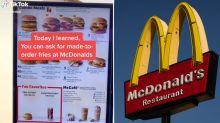 'Had no idea': TikTok user's helpful McDonald's 'menu hack'