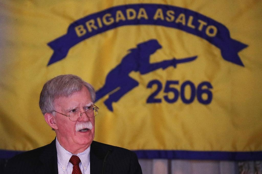 John Bolton, the US national security advisor, unveils tough new measures during a speech to veterans of the Bay of Pigs invasion (AFP Photo/JOE RAEDLE)