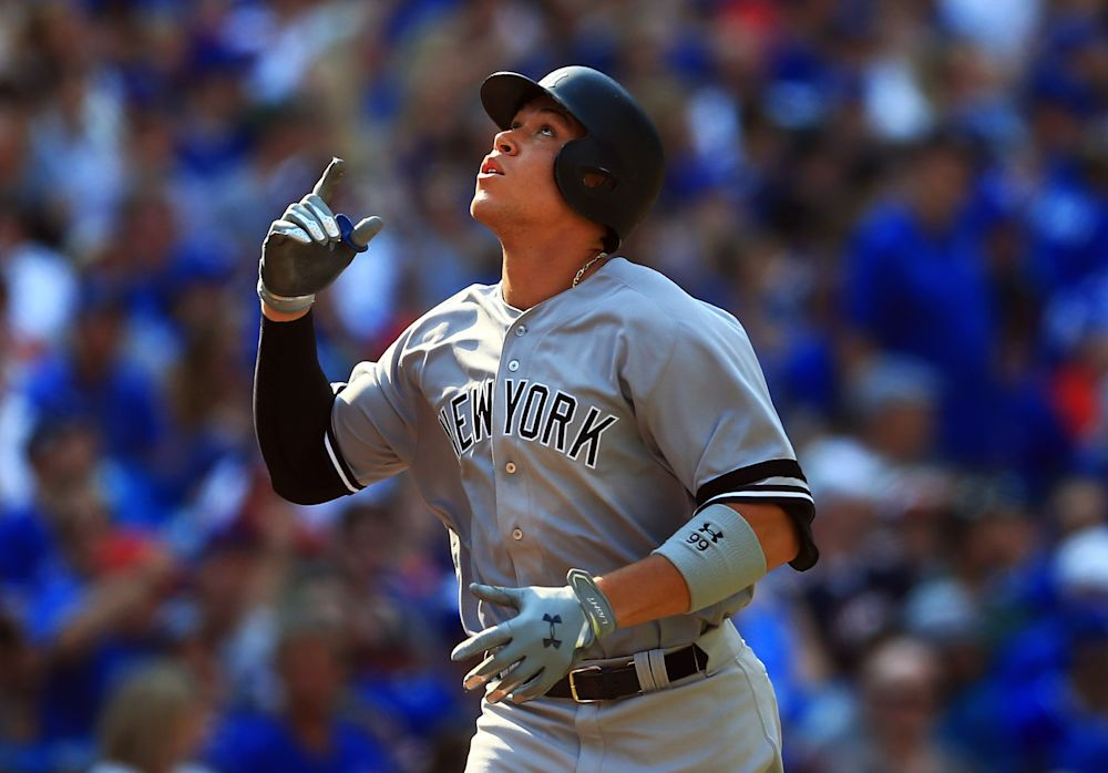 Aaron Judge is one homer away from tying Mark McGwire's rookie record of 49. (Getty Images)
