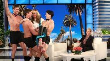It's raining men! Ellen DeGeneres gifts Allison Janney shirtless hunks to celebrate Oscar win