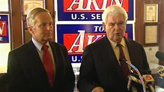 GOP's Akin faces pressure, but gains support from Gingrich