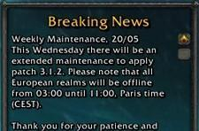 European weekly maintenance: 20th May 2009