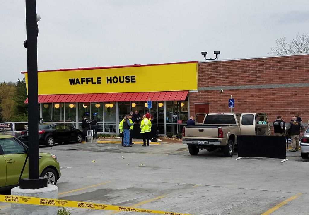 Four people were killed and two others wounded at the Waffle House restaurant in the city of Nashville, America's country music capital