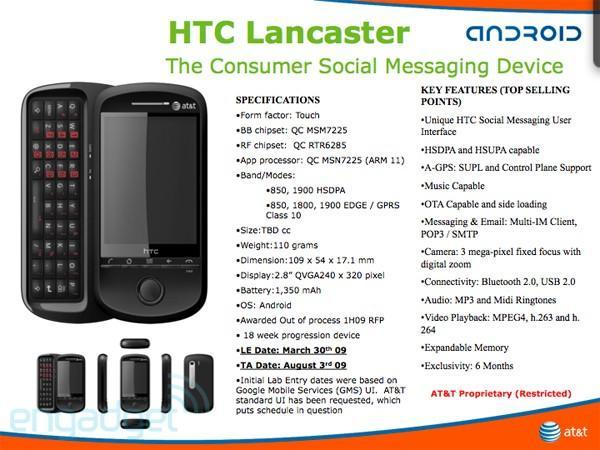 HTC Lancaster is a QWERTY slider with Android for AT&T