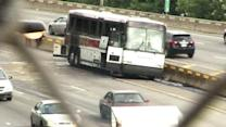 Tour bus fire shuts down parts of Schuylkill Expressway