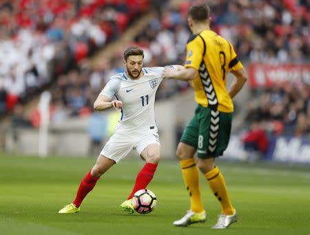 England's Adam Lallana in action