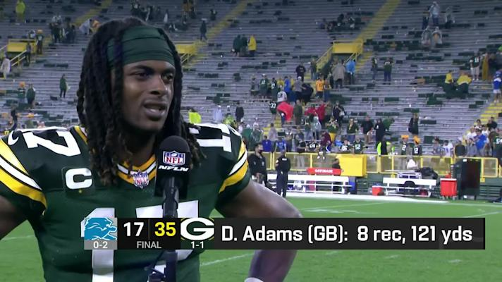 Davante Adams reacts to Packers' bounce-back win over Lions on 'MNF'