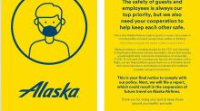 See the yellow card Alaska Airlines will give to passengers who refuse to wear masks on its flights