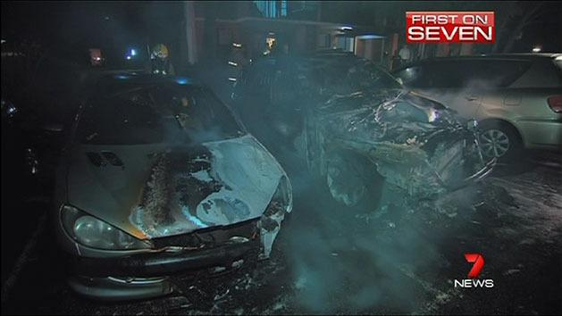 Cars destroyed in fire-bomb attack