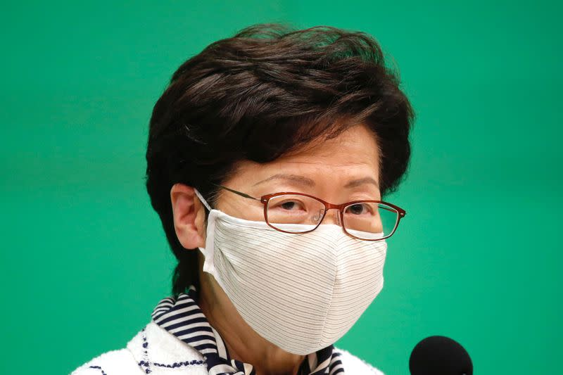 Hong Kong Chief Executive Carrie Lam, speaks during a news conference over global outbreak of the coronavirus disease (COVID-19) in Hong Kong