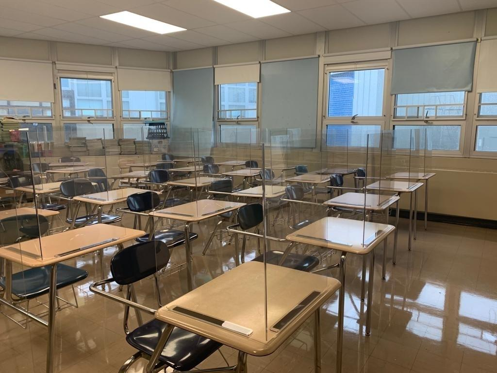Plexiglass barriers have been added to students' desks in the Lakewood School District to prevent the spread of the coronavirus.