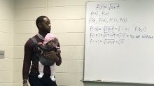 Student had to bring his baby daughter to class so his professor watched her so he could pay attention