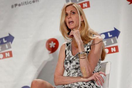 """Political commentator Ann Coulter speaks during the """"Politicon"""" convention in Pasadena, California"""
