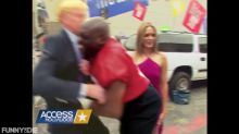 Watch Trump get knocked backward into the 'Access Hollywood' bus in Funny or Die spoof