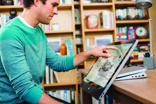 HP's 'Recline' all-in-ones can be used with the touchscreen hanging off the desk