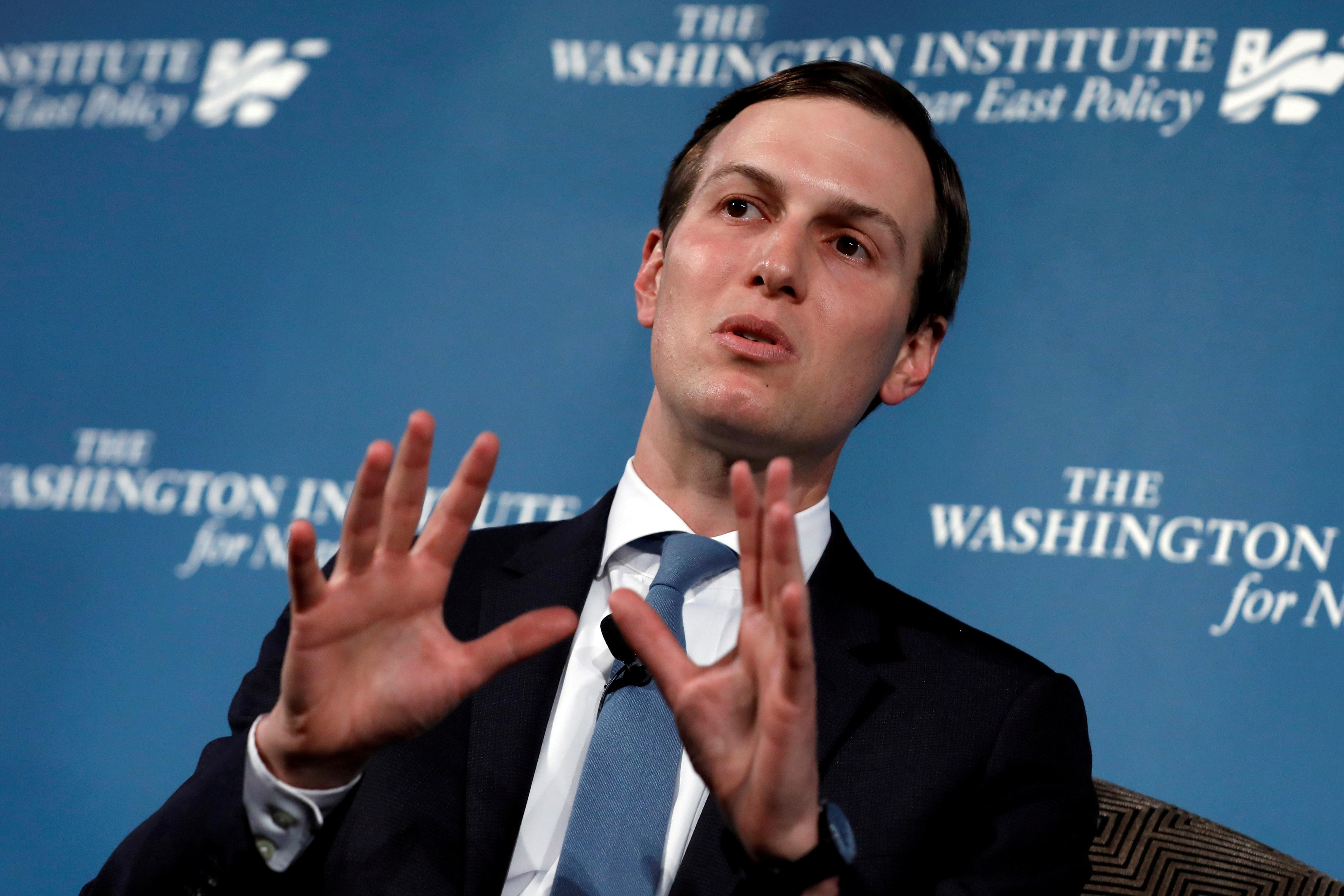 "FILE PHOTO: White House senior adviser Jared Kushner, U.S. President Donald Trump's son-in-law, speaks during a discussion on ""Inside the Trump Administration's Middle East Peace Effort"" at a dinner symposium of the Washington Institute for Near East Policy (WINEP) in Washington, U.S., May 2, 2019. REUTERS/Yuri Gripas/File Photo"
