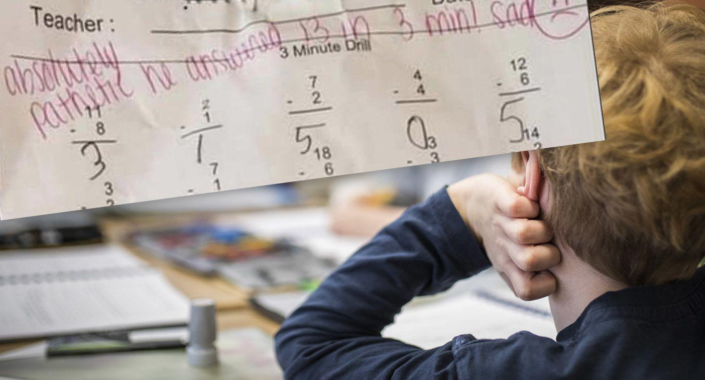 'Absolutely pathetic': Teacher under-fire over harsh criticism of student's work