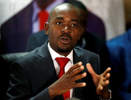 FILE PHOTO: Opposition Movement For Democratic Change (MDC) party leader Nelson Chamisa gestures while addressing the media in a news conference in Harare, Zimbabwe August 25, 2018. REUTERS/Philimon Bulawayo/File Photo
