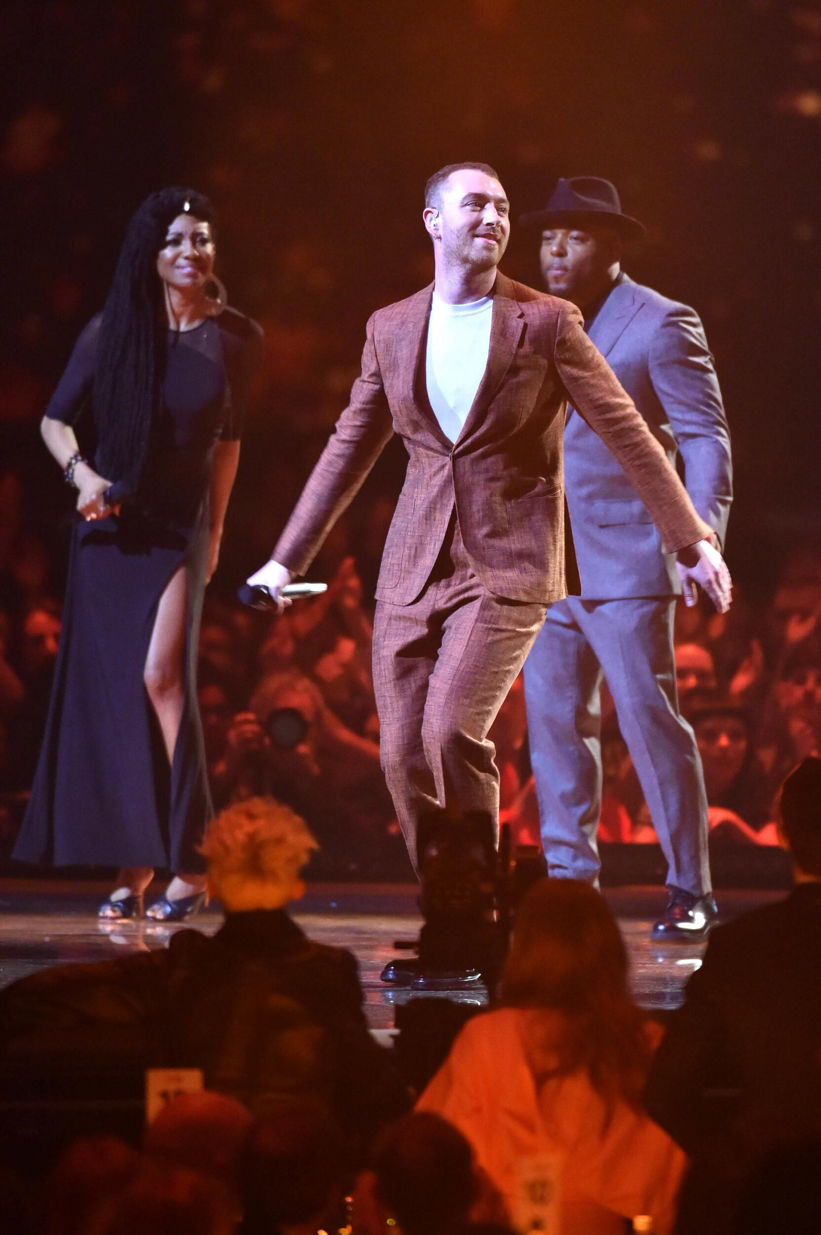 EDITORIAL USE ONLY.Sam Smith performs on stage at the Brit Awards at the O2 Arena, London.