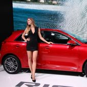 No need for a clipboard: Babes still an item at Paris Motor Show