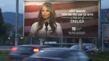 'Imagine how far you can go with a little bit of English': Melania Trump threatens legal action over language school billboard featuring her image