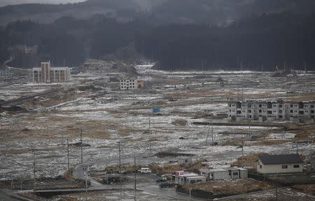 Snow falls over Minamisanriku town, devastated by the March 11, 2011 tsunami, in Miyagi prefecture, northeastern Japan in this February 23, 2012 file photo. REUTERS/Yuriko Nakao/Files