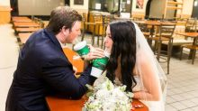 Bride and groom spice up their wedding photos at Taco Bell