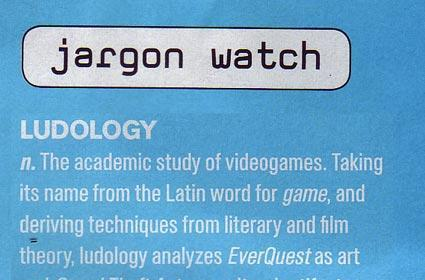 """""""Ludology"""" is now jargon"""