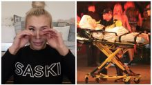 Aussie mum who left Kylie Jenner's party on a stretcher breaks down crying