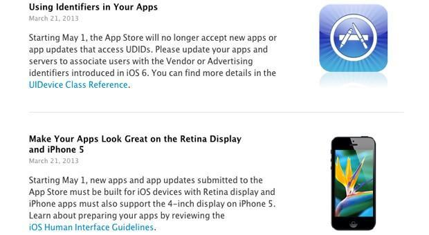 Apple sets a May 1st cutoff for new apps that use UDIDs, don't support iPhone 5 and Retina screens