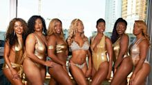 7 businesswomen pose in metallic swimsuits for empowering photoshoot