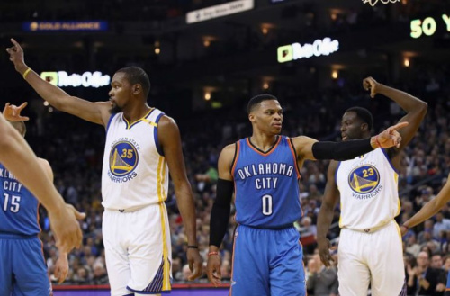 Kevin Durant and Russell Westbrook pointed in different directions. (Getty Images)