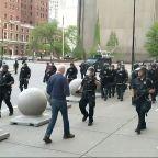 NY police shove man violently as curfew begins