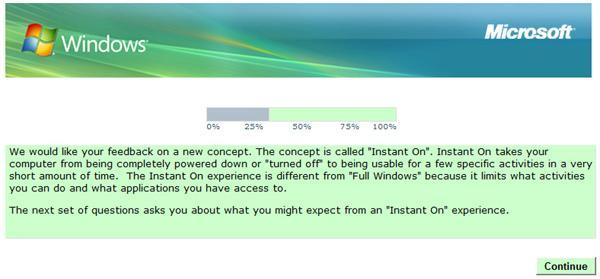 Microsoft survey hints at Instant On OS concept