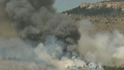 Raw: Wildfires Burning in Wyoming