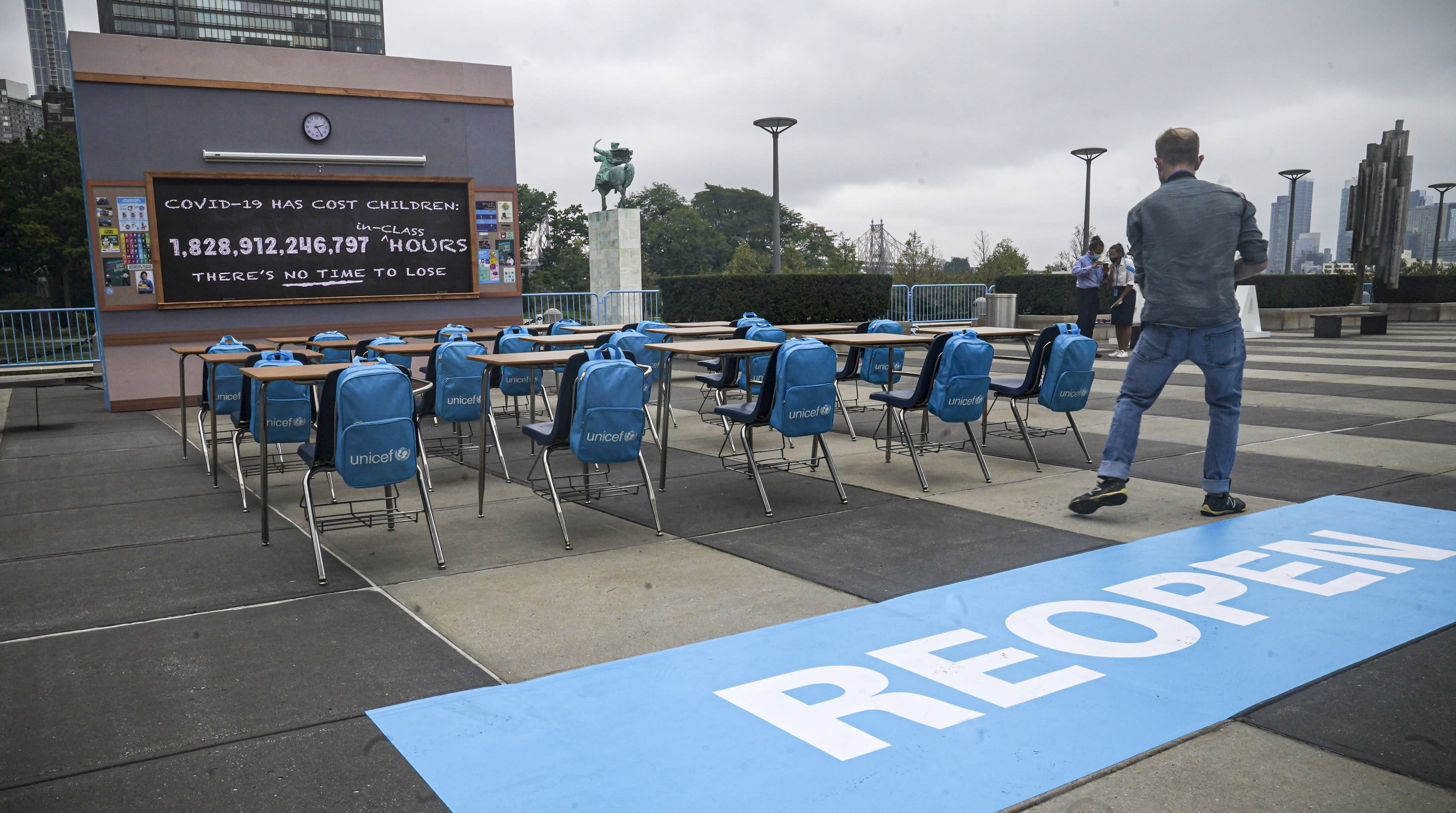 Empty desk array at UN spotlights lost learning in pandemic