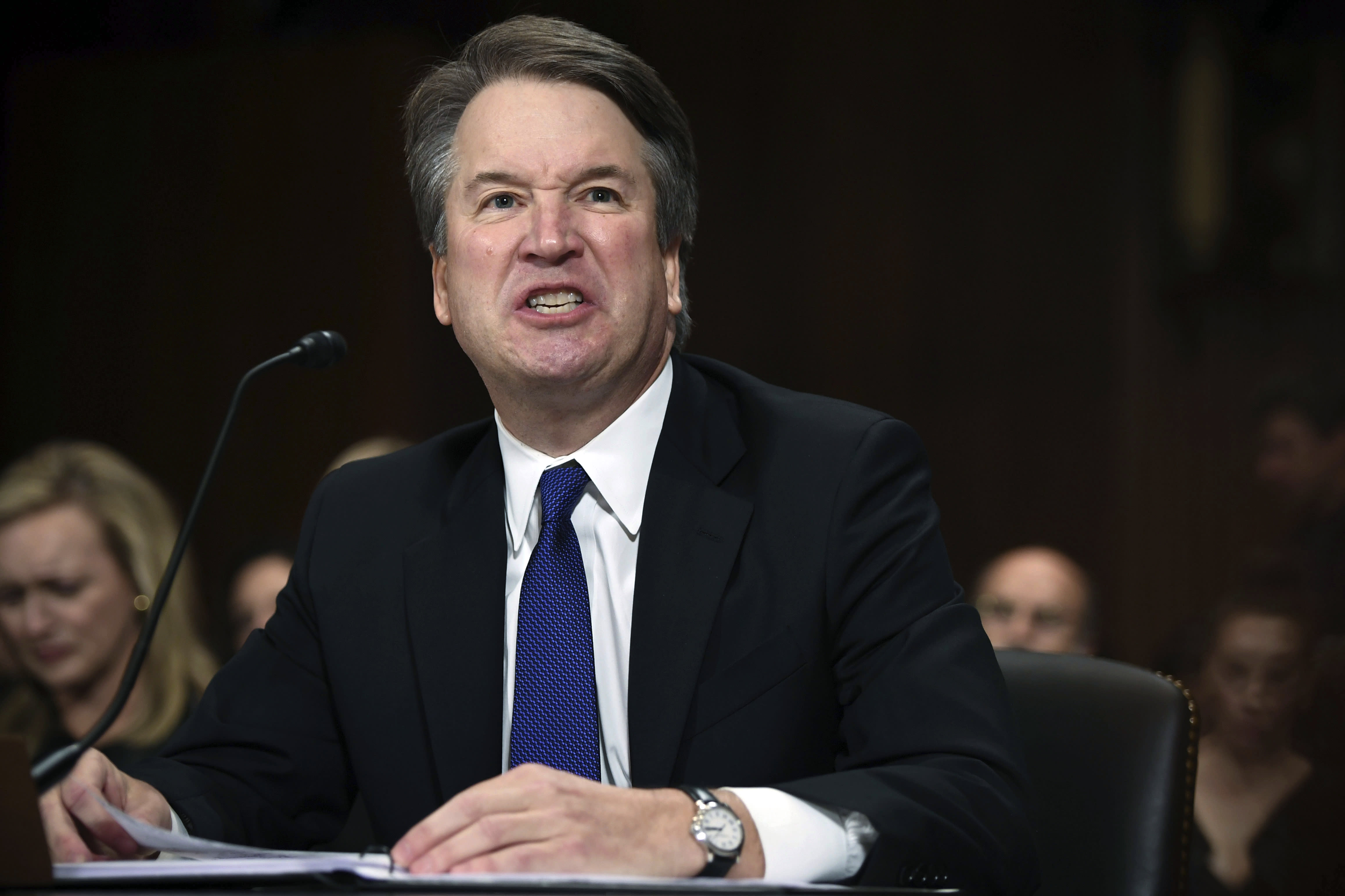 <p>Supreme Court nominee Judge Brett Kavanaugh gives his opening statement before the Senate Judiciary Committee, Thursday, Sept. 27, 2018 on Capitol Hill in Washington. (Photo: Saul Loeb/Pool Image via AP) </p>