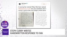 Steph Curry writes handwritten response to fan