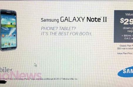Purported leak has Galaxy Note II for T-Mobile costing $300 on contract