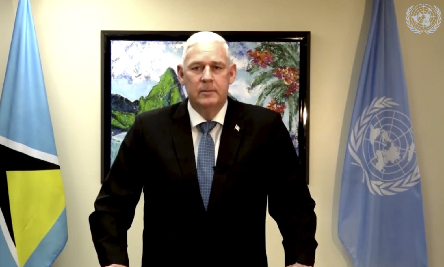 In this image made from UNTV video, Allen Michael Chastanet, Prime Minister of Saint Lucia, speaks in a pre-recorded message which was played during the 75th session of the United Nations General Assembly, Saturday, Sept. 26, 2020, at U.N. headquarters. (UNTV via AP)