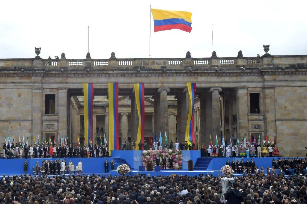 Several regional leaders attended Duque's inauguration (AFP Photo/Raul ARBOLEDA)