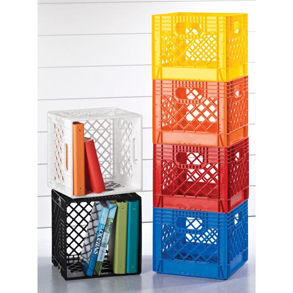 """<p>Its hard to imagine these crates as mere milk carriers. We've seen 'em as toyboxes, stools, foot rests…and they're also the ideal size for binders and oversize books. (Credit: <a href=""""http://www.containerstore.com/s/storage/open-bins-baskets/plastic/123?productId=10000531"""" rel=""""nofollow noopener"""" target=""""_blank"""" data-ylk=""""slk:The Container Store"""" class=""""link rapid-noclick-resp"""">The Container Store</a>)</p>"""