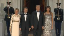 Trumps greet the Macrons for White House state dinner