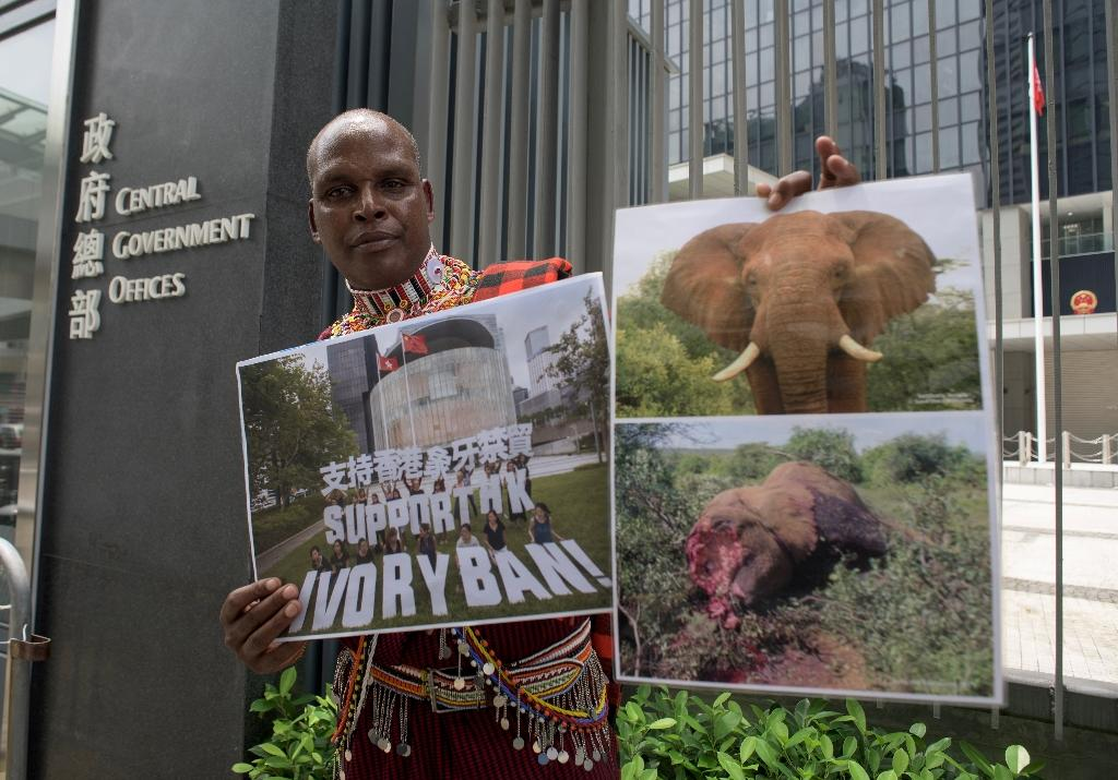 Kenyan park ranger Chris Leadismo, who said his closest friend was shot dead while protecting elephants, has urged Hong Kong not to compensate the city's ivory traders (AFP Photo/Anthony WALLACE)